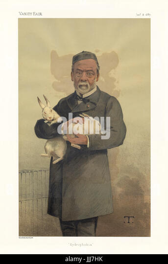 Louis Pasteur - portrait standing holding two white rabbits. Vanity Fair caricature by T. (real name Théobald - Stock Image