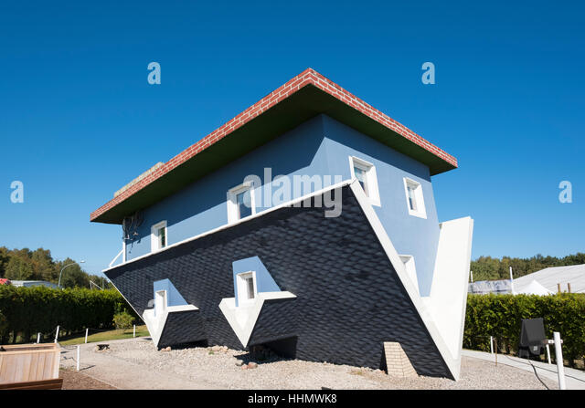 Upside Down House, The World Upside Down, Trassenheide, Usedom, Mecklenburg-Western Pomerania, Germany - Stock Image