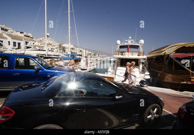 Spain Puerto Banus Marbella Andalucia yachts - Stock Image