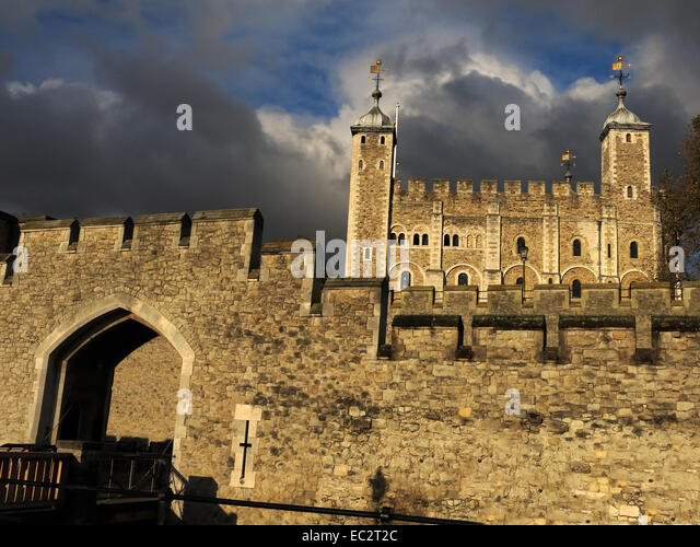 Tower of London with dramatic sky, City of London, England, UK - Stock Image