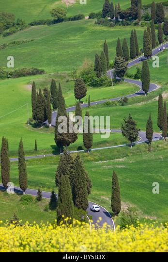 Winding Road, Monticchiello, Tuscany, Italy - Stock Image