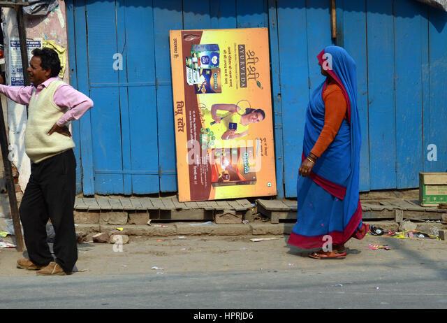 Colorful daily scene in Uttar Pradesh, India. - Stock Image