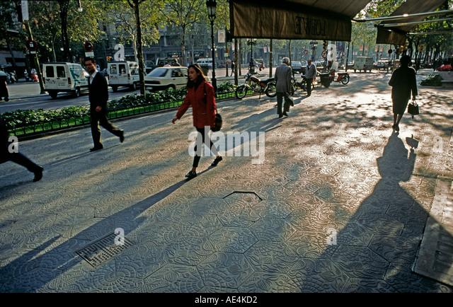 spain Barcelona Passeig de gracia ornate pavement - Stock Image