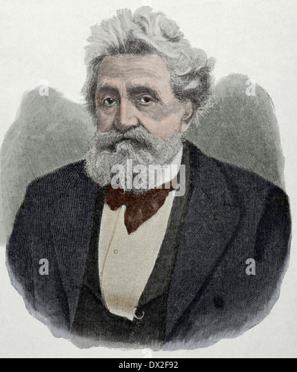 Hermann Lingg (1820 – 1905). German poet who also wrote plays and short stories. Engraving. Colored. - Stock Image
