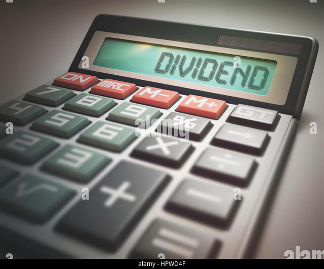 Calculator with the word dividend, illustration. - Stock-Bilder