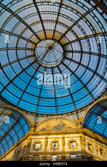 Glass ceiling, Galleria Vittorio Emanuele II, Milan, Lombardy, Italy - Stock Image