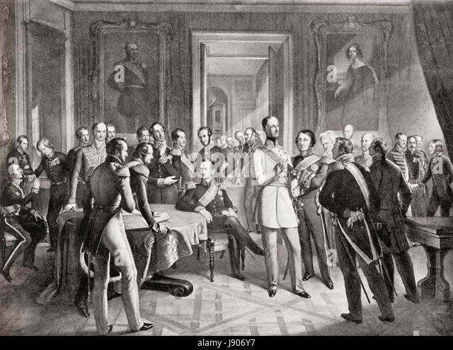 The Dresden Conference, December 23, 1850 to May 16, 1851 which took place after the Prussian humiliation at the - Stock-Bilder