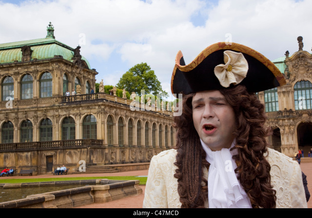 Photograph of an actor dressed as a German aristocrat in Dresden - Stock Image