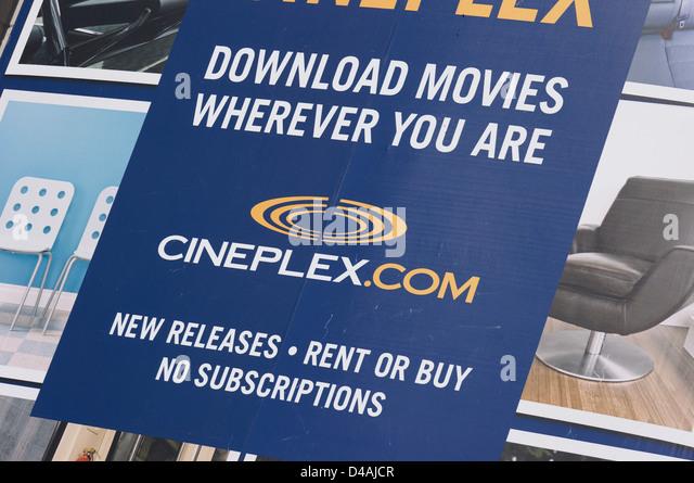 Cineplex Download Movies Ad closeup - Stock Image