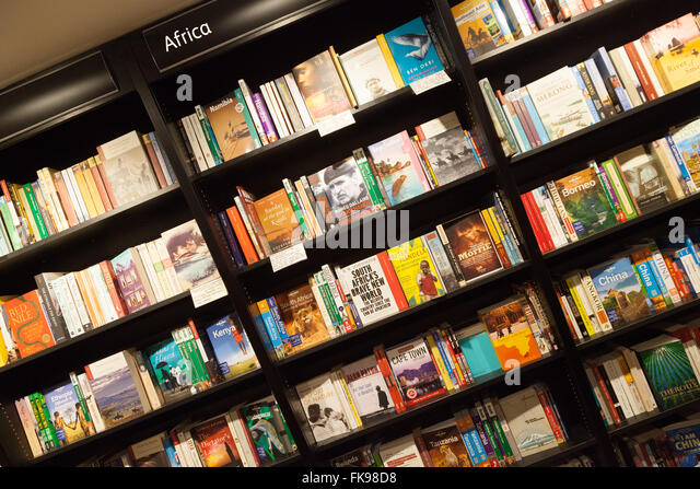 Africa travel books for sale, Waterstones bookstore, London UK - Stock-Bilder
