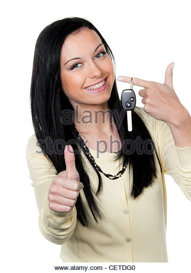 woman with car keys and driver's license. test - Stock Image
