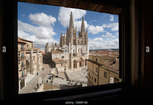Burgos Cathedral from window of Mesón del Cid hotel, Burgos, Spain - Stock Image