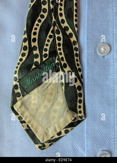 Interesting vintage green Manhatten tie, male neckware in silk - Stock Image
