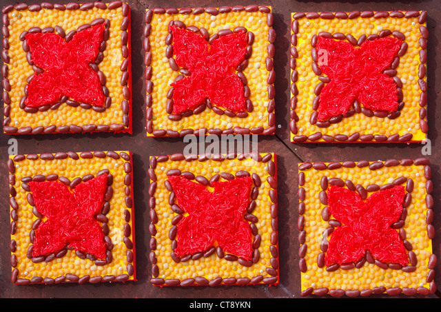 Texture background decorated by use soybean, kidney bean and sticky rice - Stock-Bilder