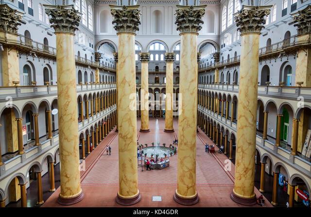 Washington DC District of Columbia National Building Museum architecture design Pension Building Renaissance Revival - Stock Image