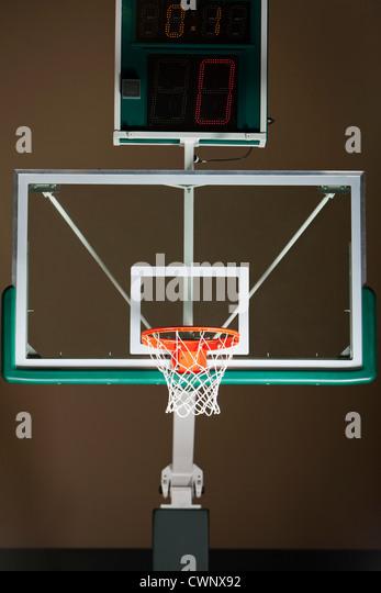 Basketball hoop with backboard and scoreboard - Stock Image