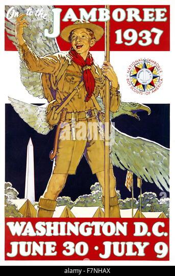 Poster for the 1937 Jamboree, Washington D.C. - Stock Image