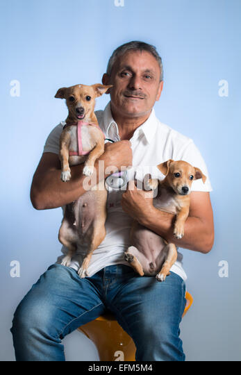 Man and dog - Stock Image