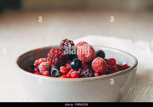 Close-Up Of Berries In Bowl On Table - Stock Image