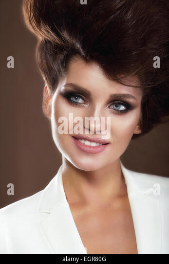 Portrait of Sophisticated Smiling Woman - Stock Image
