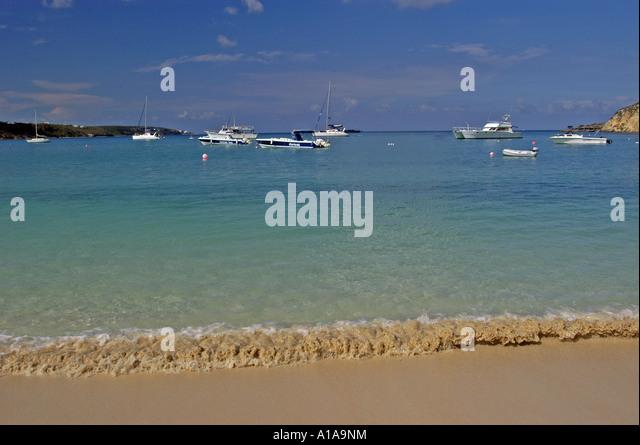 Anguilla beach Sandy Ground boats water shoreline - Stock Image