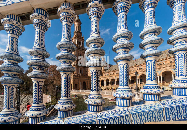 Placa de Espana, ceramic decor columns, spanish square, Seville, Andalusia, Spain, - Stock Image