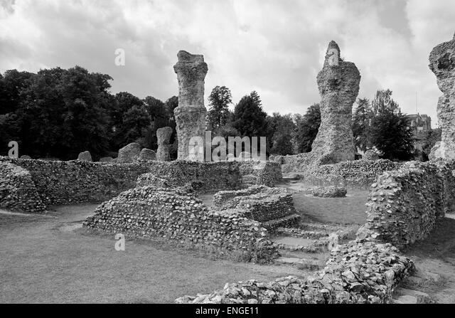 Abbey ruins Bury St Edmunds Suffolk - Stock Image