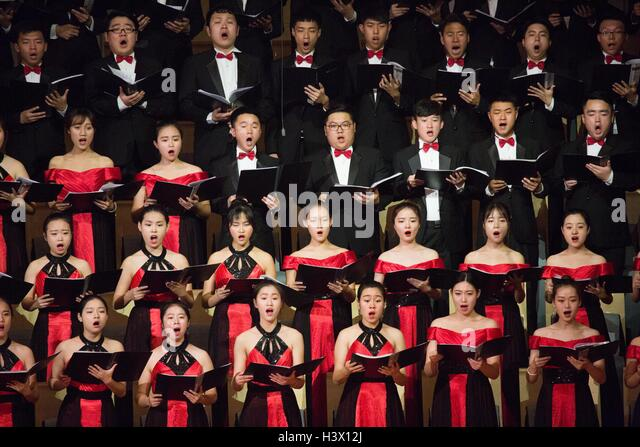 """Beijing, China. 12th Oct, 2016. The concert """"The Long March"""" to commemorate the 80th anniversary of the - Stock Image"""