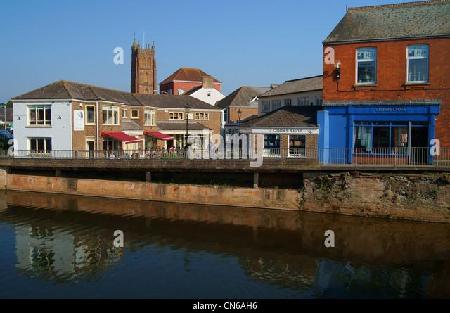 Riverside Place by River Tone,Taunton,Somerset - Stock Image