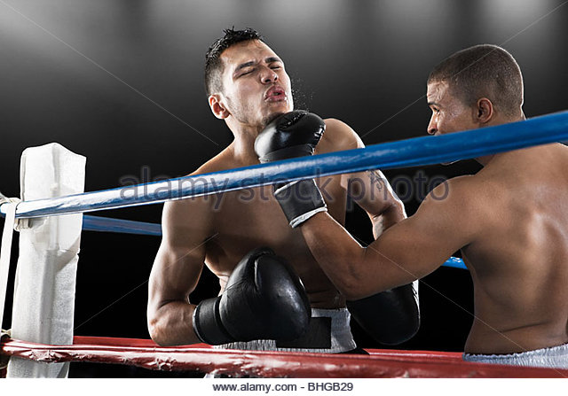 Boxing match in action - Stock Image