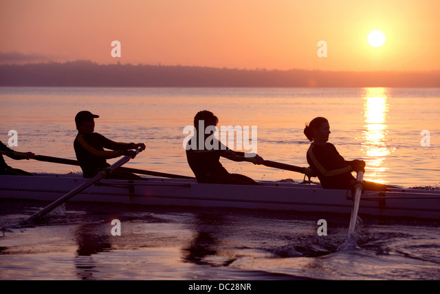Four people rowing at sunset - Stock Image