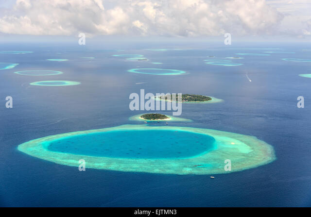 Small Maledives Islands in the south Male Atoll - Stock Image