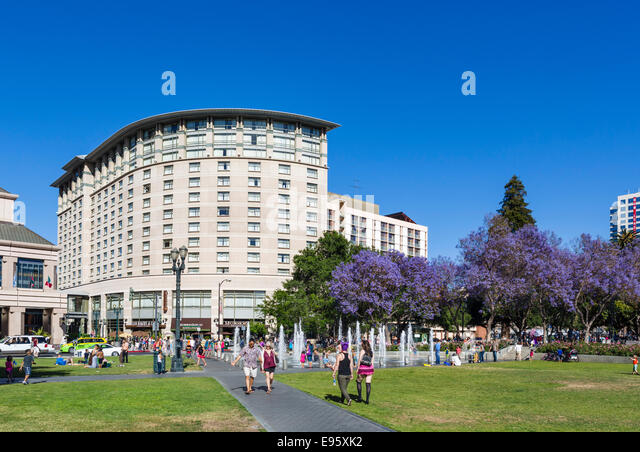 Plaza de Cesar Chavez in downtown San Jose, Santa Clara County, California, USA - Stock Image