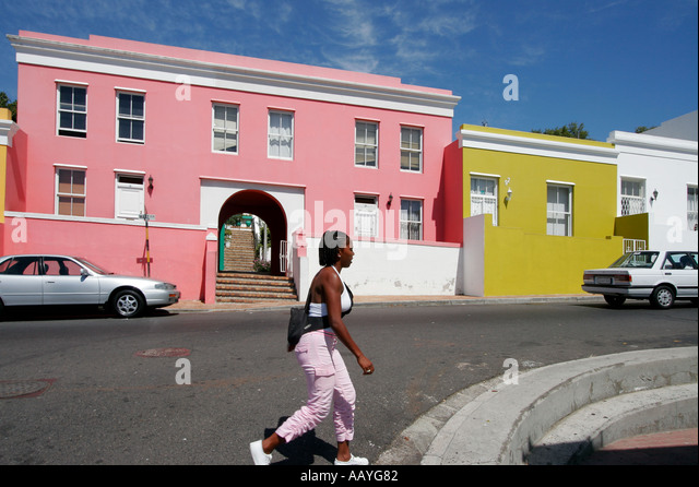 cape town Bo Kaap colorful facades in area of cape muslims black girl - Stock Image