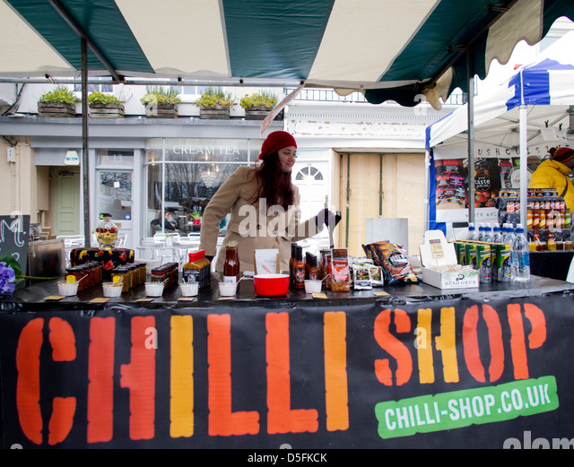 Chilli shop stall at the Brighton Food and Drink Festival 2013 - Stock Image