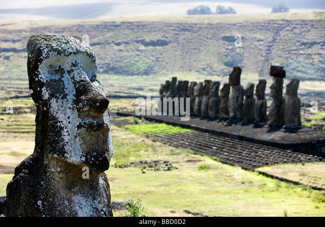 Moai statues of Rapa Nui ( Easter Island) - Stock Image