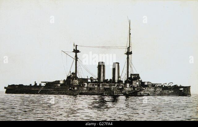 Japanese battle ship Mikasa. c 1907. - Stock Image