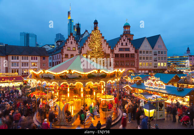 Christmas Market in Romerberg, Frankfurt, Germany, Europe - Stock Image