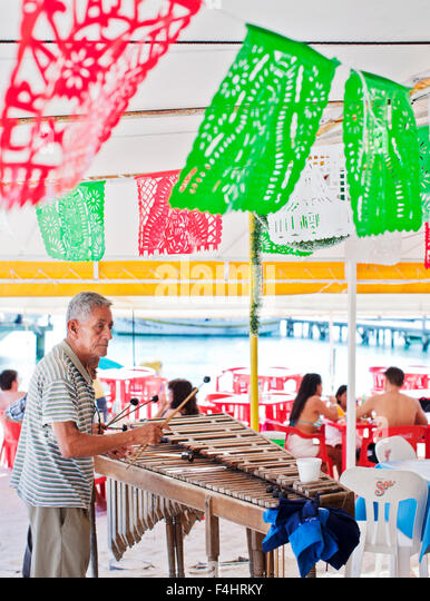 Man playing xylophone at Minino's, an open-air, tent-style seafood restaurant near the docks of Isla Mujeres, - Stock Image