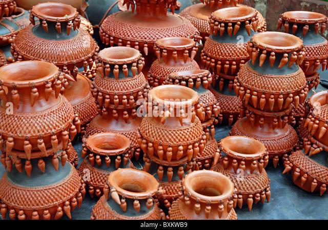 Terecotta earthen pots. - Stock Image