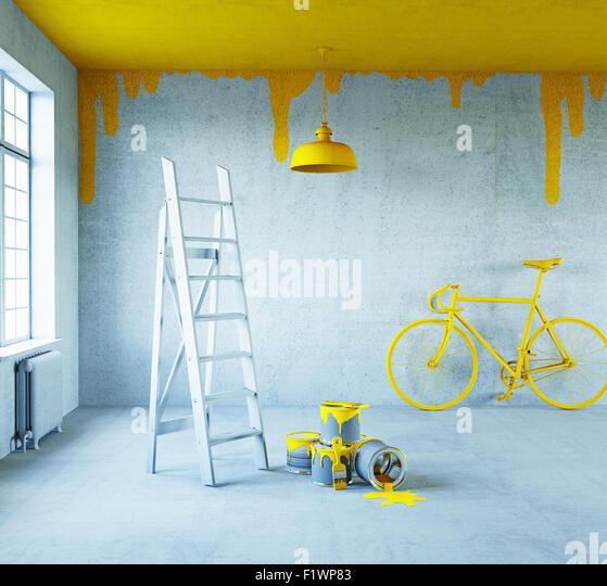 white interior with painted ceiling.3d concept - Stock Image