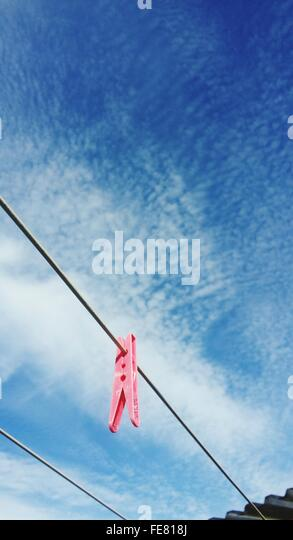 Clothespin On Clothesline - Stock Image