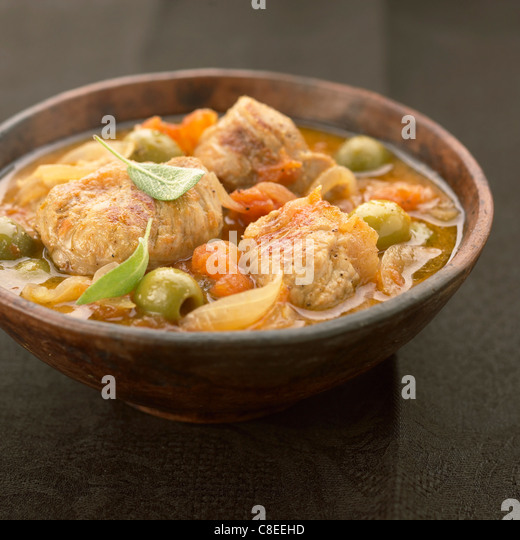 Limousin veal and green olive stew - Stock Image