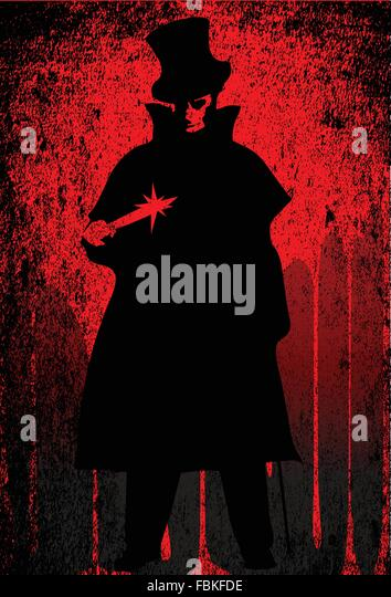 Jack the Ripper over a red grunge background - Stock-Bilder