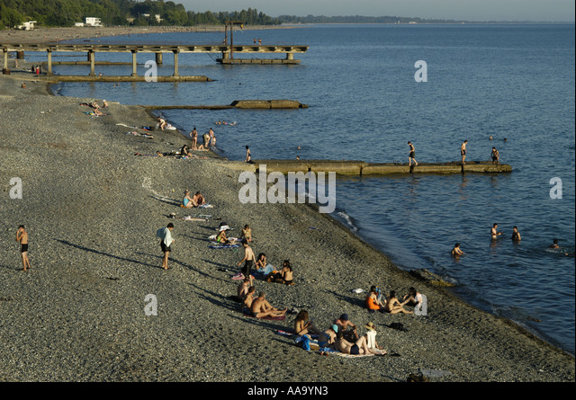View on the beach of Sukhumi, capital of Abkhazia. - Stock Image