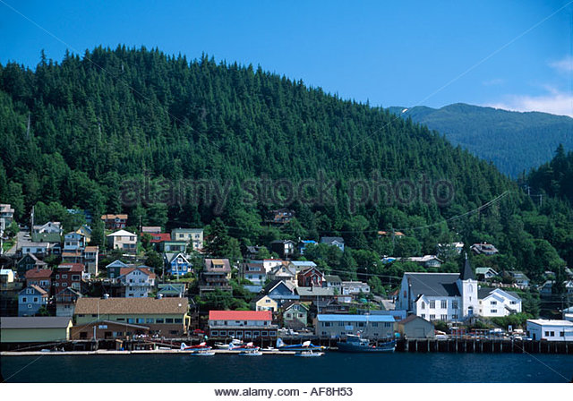 Alaska Tongass Narrows Ketchikan view of city from arriving cruise ship boat - Stock Image