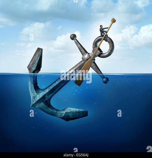 Positive thinking and resilience business concept with a person on a floating anchor rowing with a paddle as a symbol - Stock-Bilder