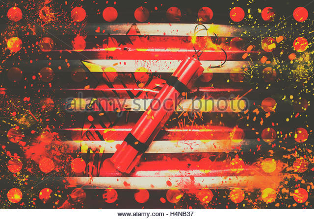 Pop art style explosion on a stick of explosives with lit fuse ready to explode. Dynamite artwork - Stock Image