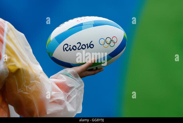 Rio de Janeiro, Brazil. 10th August, 2016. Olympics 2016 Rugby 7 - Detail of the oval ball during the Rugby 7 of - Stock Image