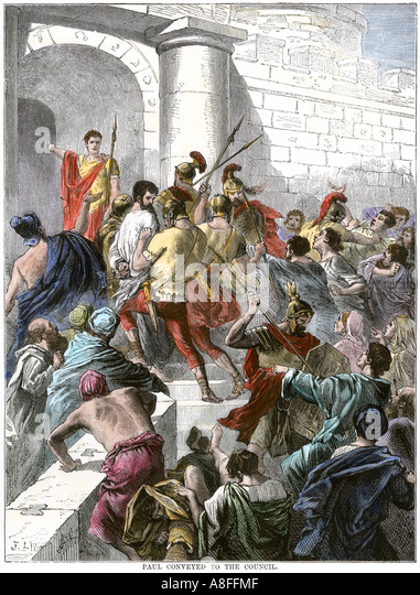 Paul arrested in Jerusalem and taken to the Roman authorities - Stock Image